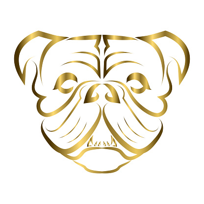gold line art of bulldog or pug dog head. Good use for symbol, mascot, icon, avatar, tattoo, T Shirt design, logo or any design you want.