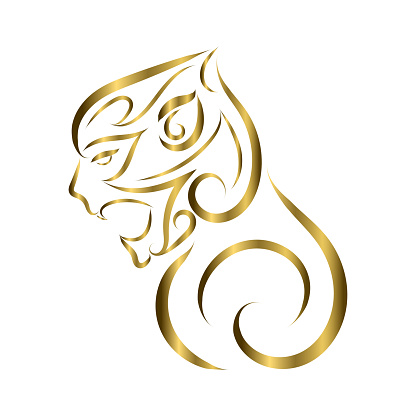 gold line art of monkey head. Good use for symbol, mascot, icon, avatar, tattoo, T Shirt design, logo or any design you want.