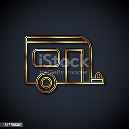 istock Gold line Rv Camping trailer icon isolated on black background. Travel mobile home, caravan, home camper for travel. Vector 1317795062