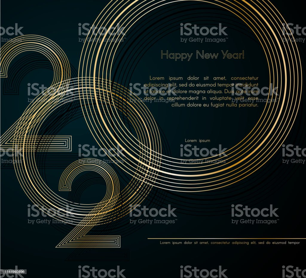 Gold Lines 2020 New Year On A Dark Background Creative