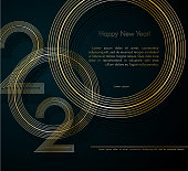 Gold lines 2020 New Year on a dark background Creative element for design luxury cards invitations party for the New Year 2020 and Christmas Modern design gold line 2020 festive invitation card Vector