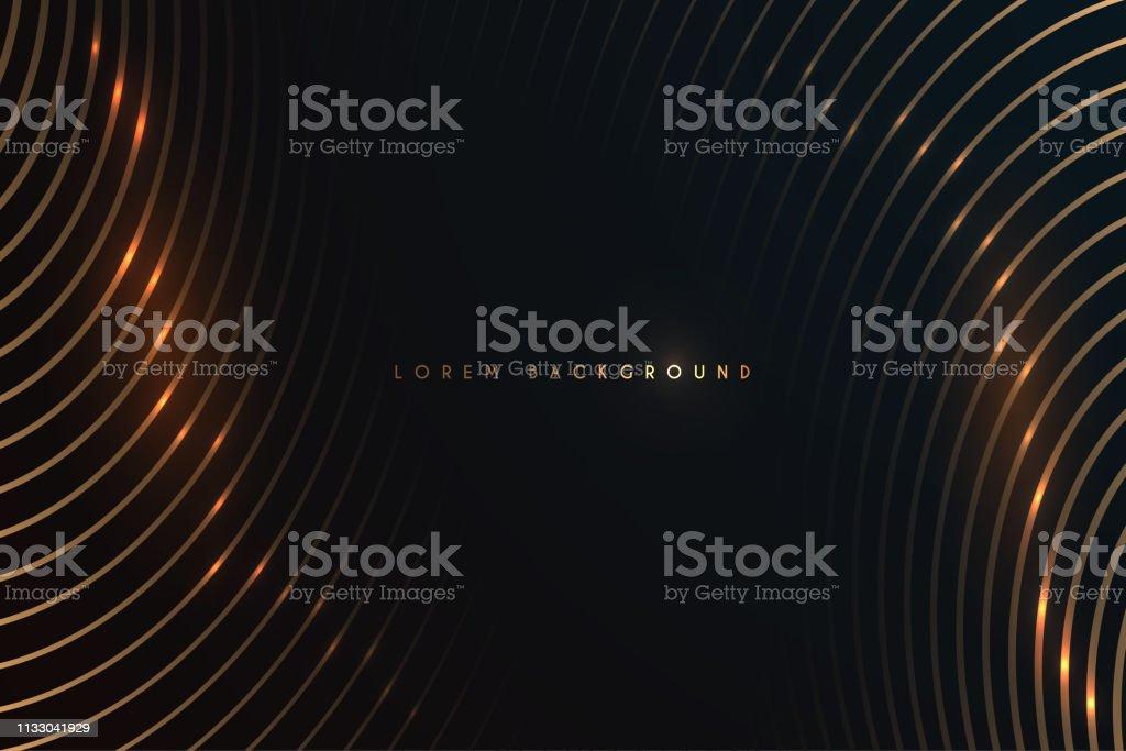 黑色背景上的金線 - 免版稅亮粉圖庫向量圖形