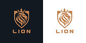 istock Gold lion shield icon 1298258905