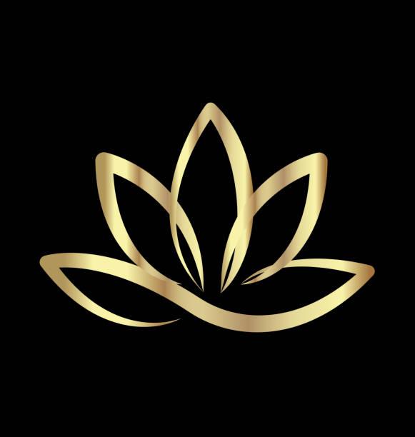 ilustrações, clipart, desenhos animados e ícones de ícone de flor de lótus de ouro - lotus
