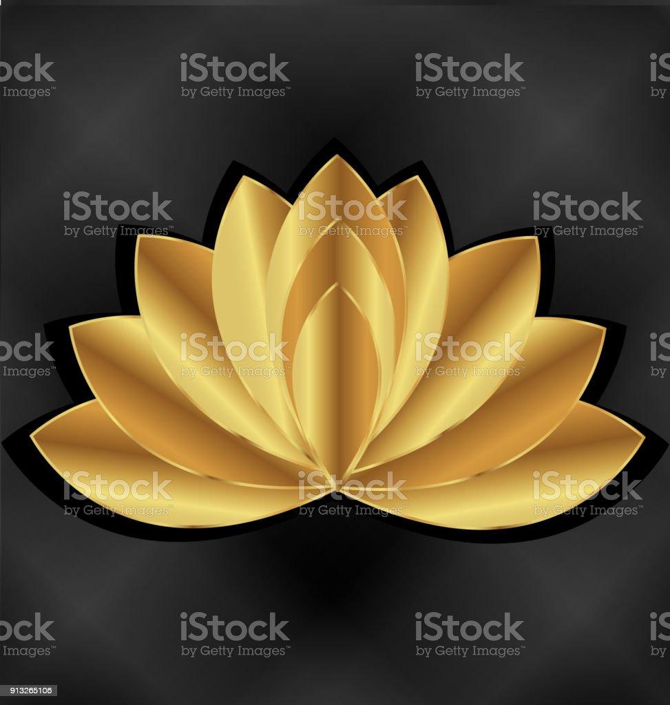 Ilustración de Plantilla De Tarjeta De Identidad De Lotus Oro Flor ...