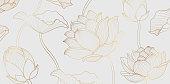 istock Gold lotus line pattern. Golden lotus flower 1302833437