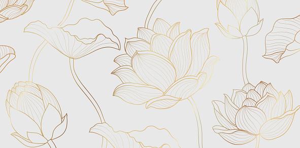 Gold lotus line pattern. Golden lotus flower