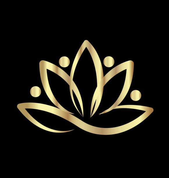 stockillustraties, clipart, cartoons en iconen met gouden lotus mensen bloem pictogram - woman very rich