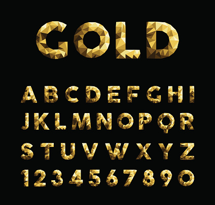Gold Low Poly Font Typeface Elegant Numbers Abc Stock ...