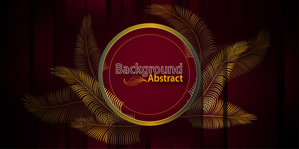 Gold Luxury exotic black leaves and dark red abstract background