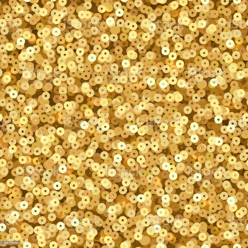 Gold luxury shimmer sequins. Disco party vector seamless texture vector art illustration