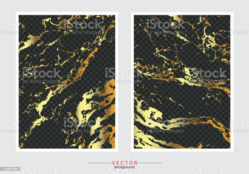 Ilustración De Fondo De Oro Cubierta De Mármol Vector Set
