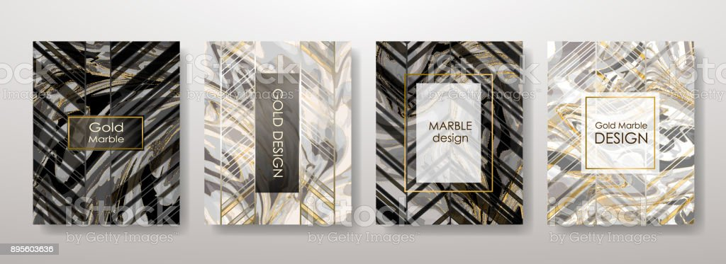 Gold marble template set vector art illustration