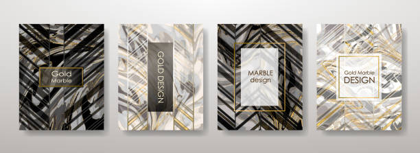 Gold marble template set vector art illustration
