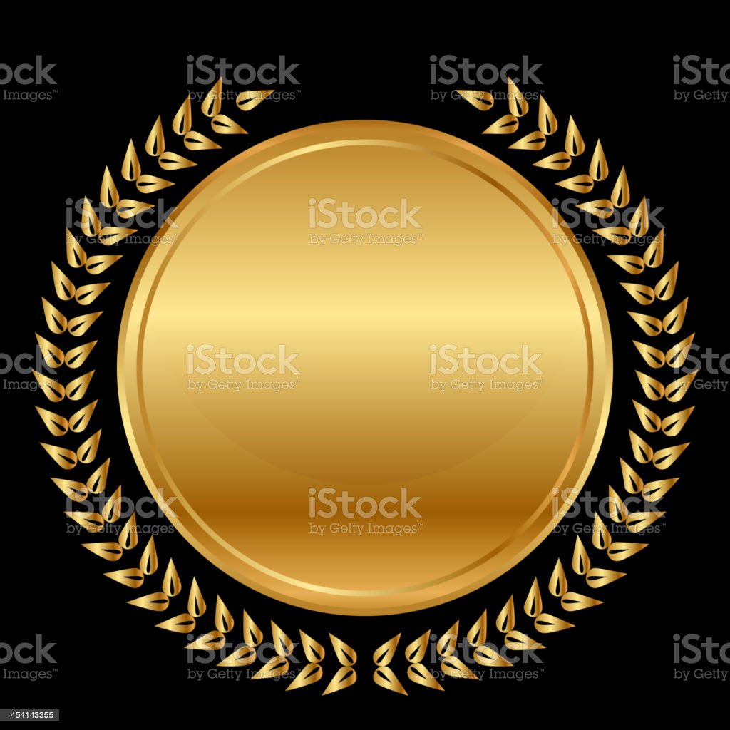 gold medal and laurels on black background royalty-free stock vector art