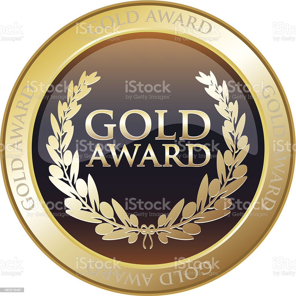 Gold Medal Award vector art illustration