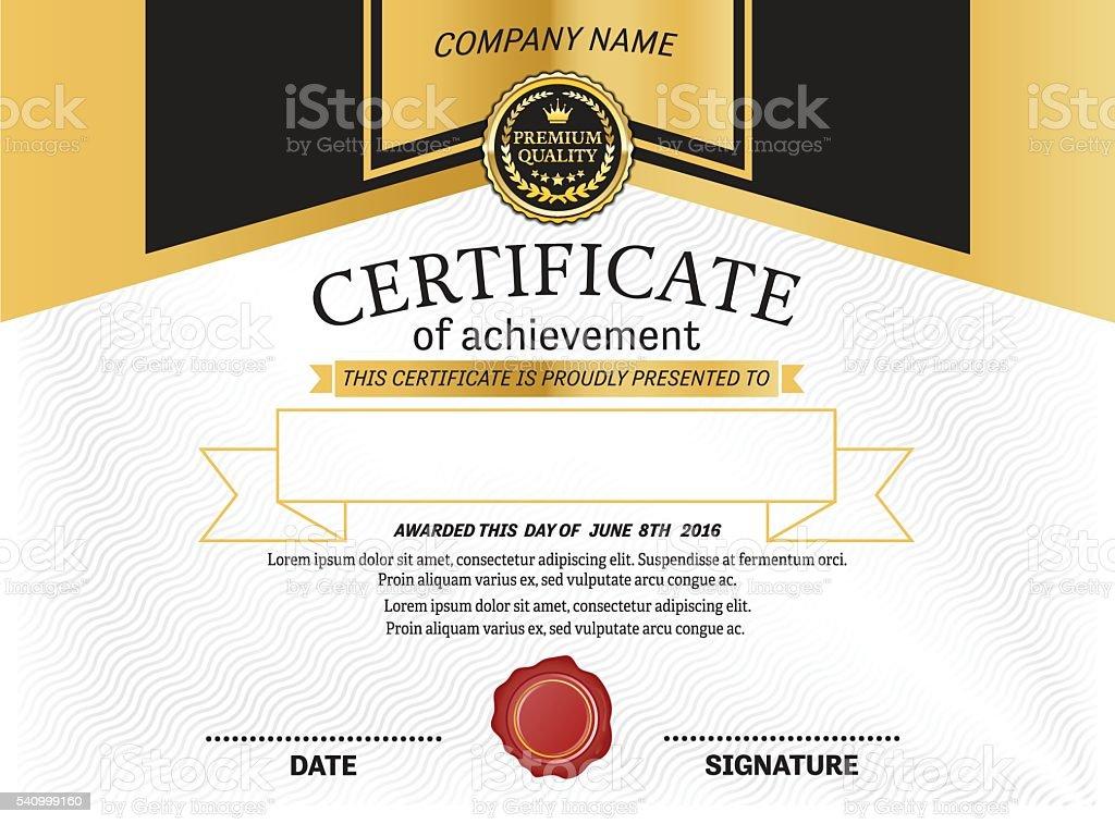 Gold Medal Design Certificate Diploma Template Vector Illustration