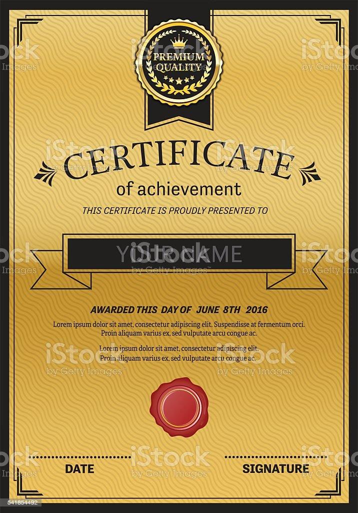 Gold Medal Design Certificate Template Vector Illustration Stock