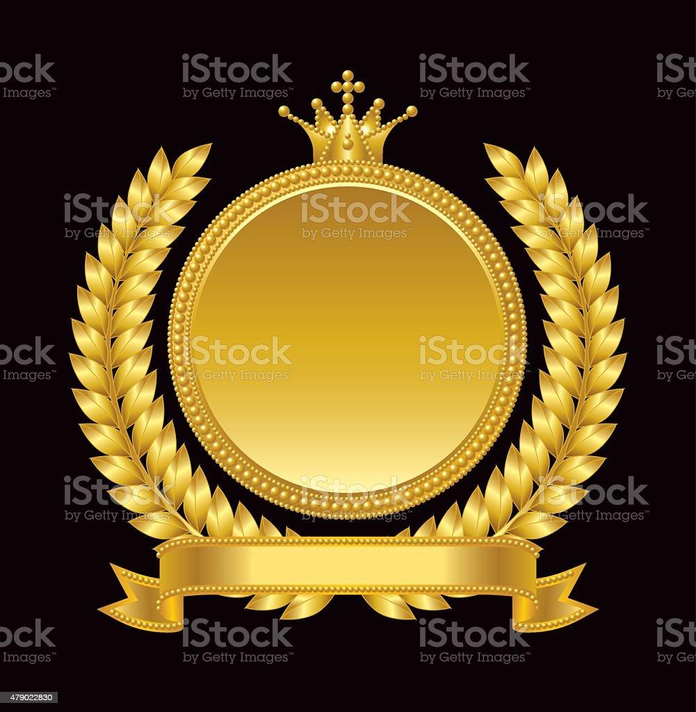 Gold medal, emblem vector art illustration