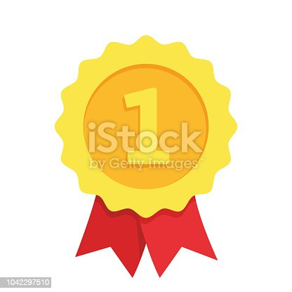 Gold medal for first place. Winner award isolated on white background. Flat style - stock vector.