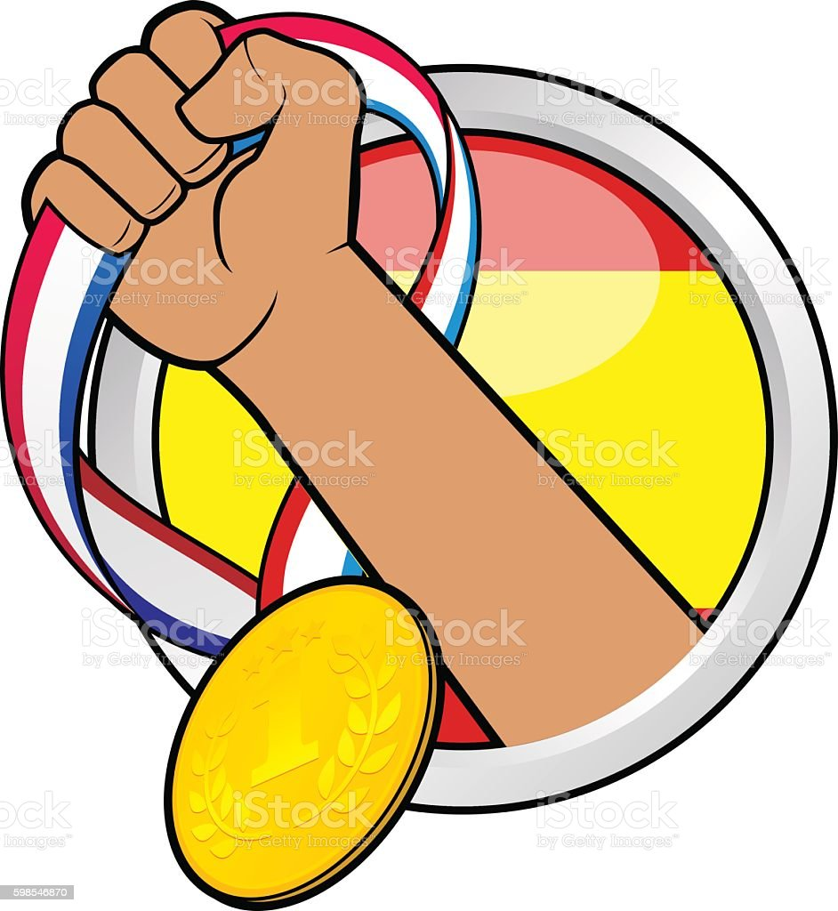 Médaille d'or pour l'Espagne médaille dor pour lespagne – cliparts vectoriels et plus d'images de cartoon libre de droits