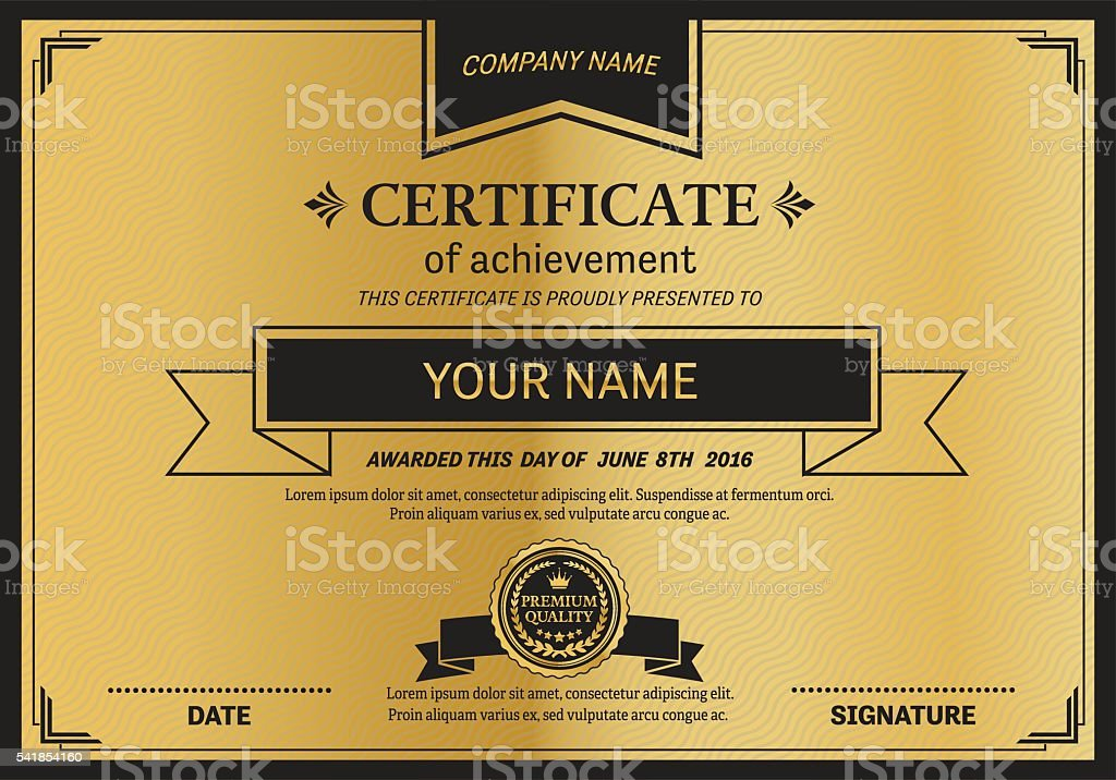 Gold Medal Gold Ribbon Certificate Diploma Template Vector