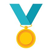 Gold medal, vector icon in trendy flat style