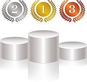 Gold medal, silver medal, bronze medal, podium