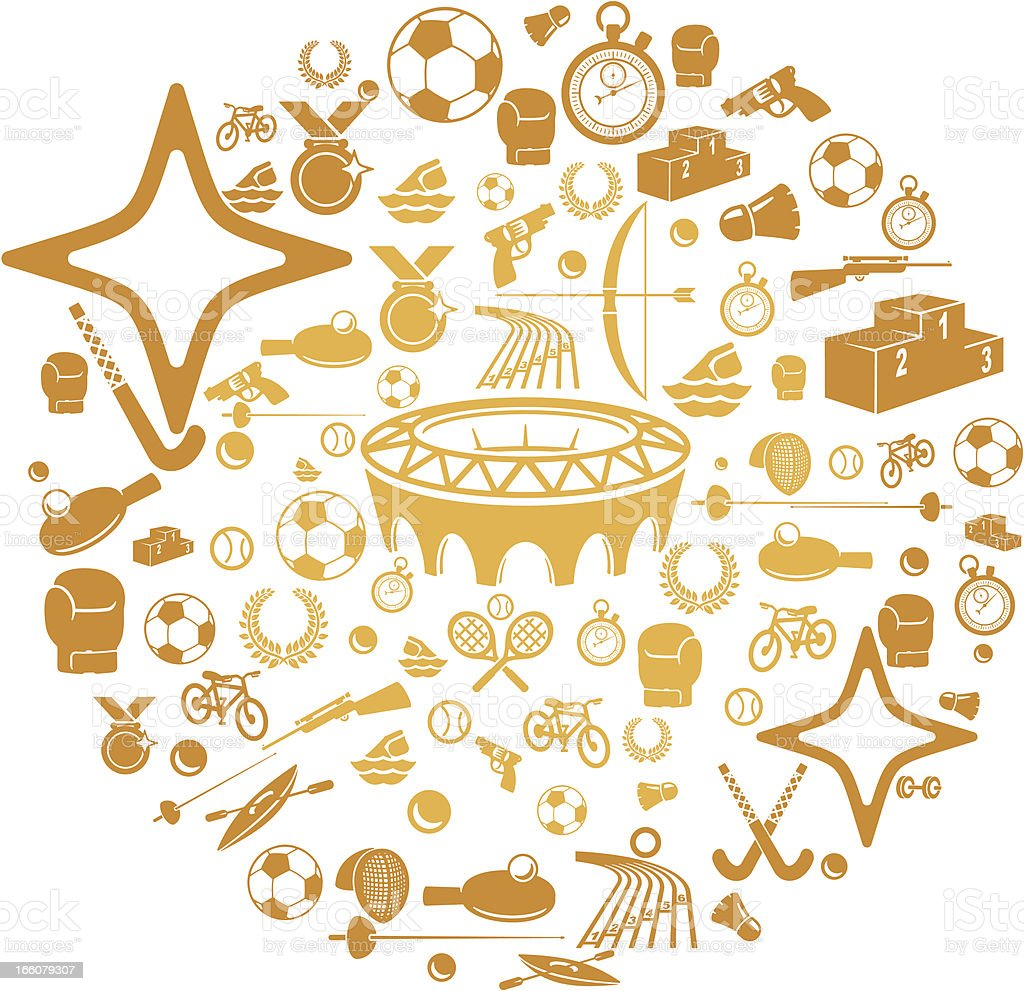 Gold Medal Sports Icons royalty-free stock vector art