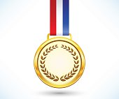 Gold medal with tricolor ribbon isolated on white background, vector illustration, eps10