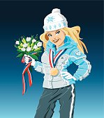 Vector Illustration of a Winter Sport Girl, who is holding an award ceremony bouquet. She's a Gold Medal Winner. The background is on a separate layer, so you can use the illustration on your own background. The colors in the .eps-file are ready for print (CMYK). Included files: EPS (v8) and Hi-Res JPG.