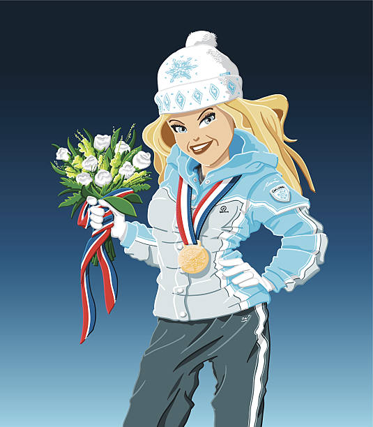 Gold Medal Winner Girl Winter Vector Illustration of a Winter Sport Girl, who is holding an award ceremony bouquet. She's a Gold Medal Winner. The background is on a separate layer, so you can use the illustration on your own background. The colors in the .eps-file are ready for print (CMYK). Included files: EPS (v8) and Hi-Res JPG. winter sport stock illustrations