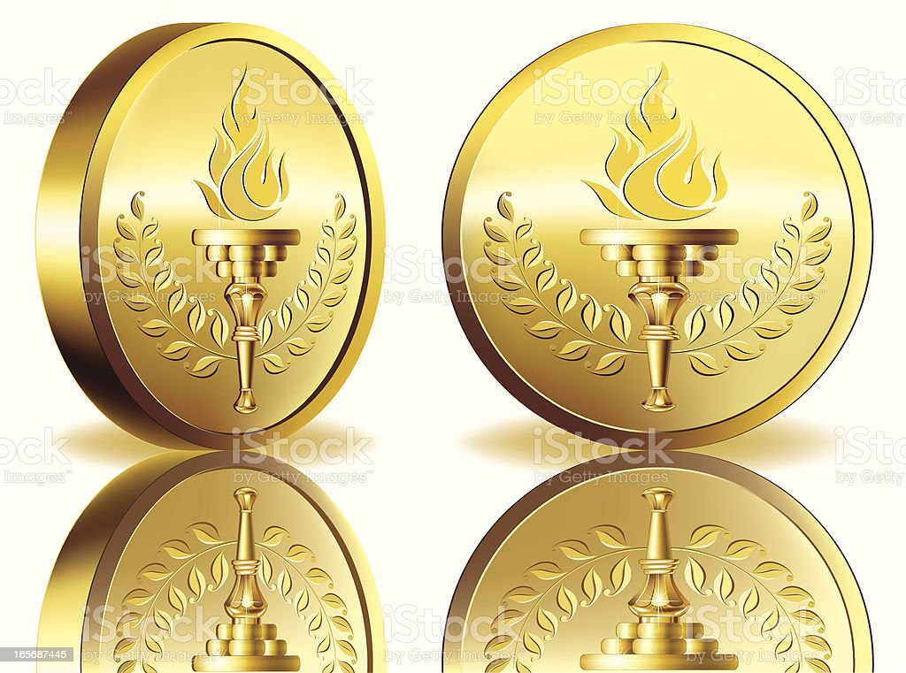Gold medal with flaming torch vector art illustration