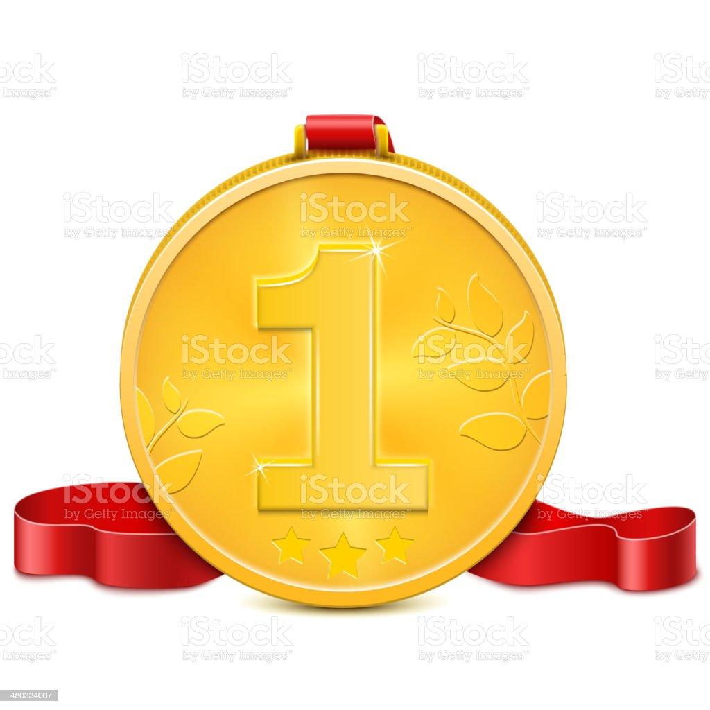 Gold Medal mit roten Band. Lizenzfreies gold medal mit roten band stock vektor art und mehr bilder von anreiz