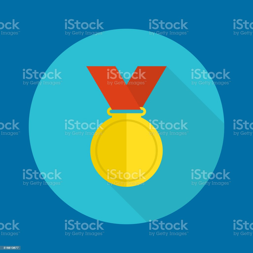Gold medal with red ribbon. vector art illustration