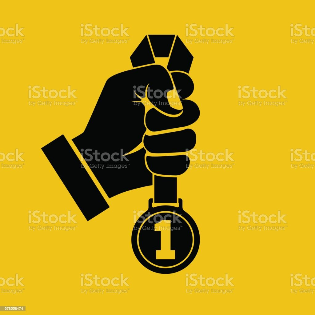 Gold medal with ribbon in hand black silhouette vector art illustration