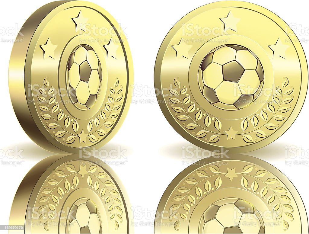 Gold medal with soccer ball royalty-free stock vector art