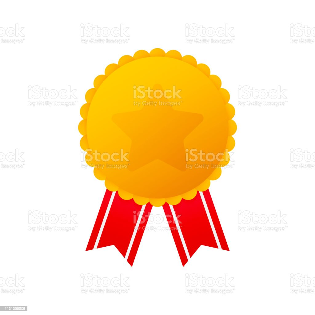Gold Medal With Star And Red Ribbon Winner Award Icon Best