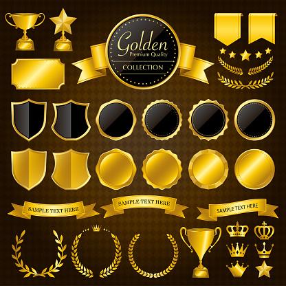 Gold medals, laurel wreaths, frames, ribbons, trophies, patches/vector illustration set