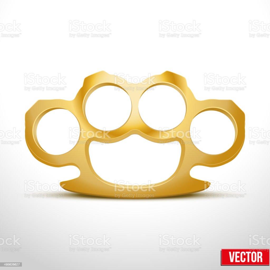 Gold Metal Brass knuckles vector illustration vector art illustration