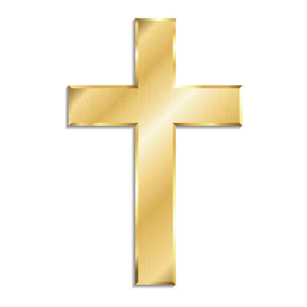 Gold metal christian cross with shadow, isolated on white background. Gold metal christian cross with shadow, isolated on white background. religious cross stock illustrations