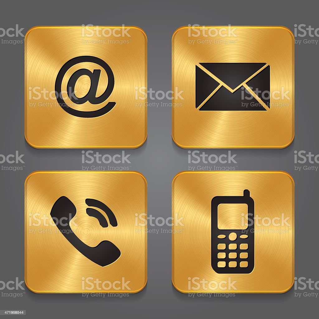 Gold Metal Contact Icons Email Envelope Phone Mobile Stock Illustration -  Download Image Now