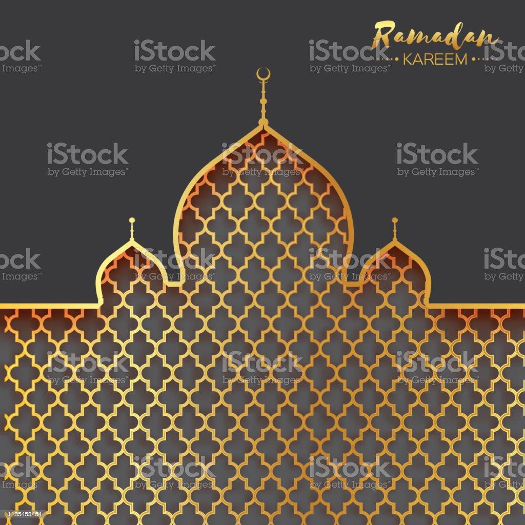 Gold metal Mosque. Origami Ramadan Kareem Greeting card vector art illustration