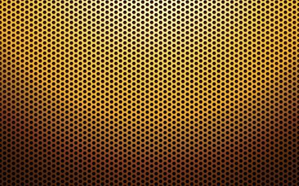 gold metall perforiert textur - edelrost stock-grafiken, -clipart, -cartoons und -symbole