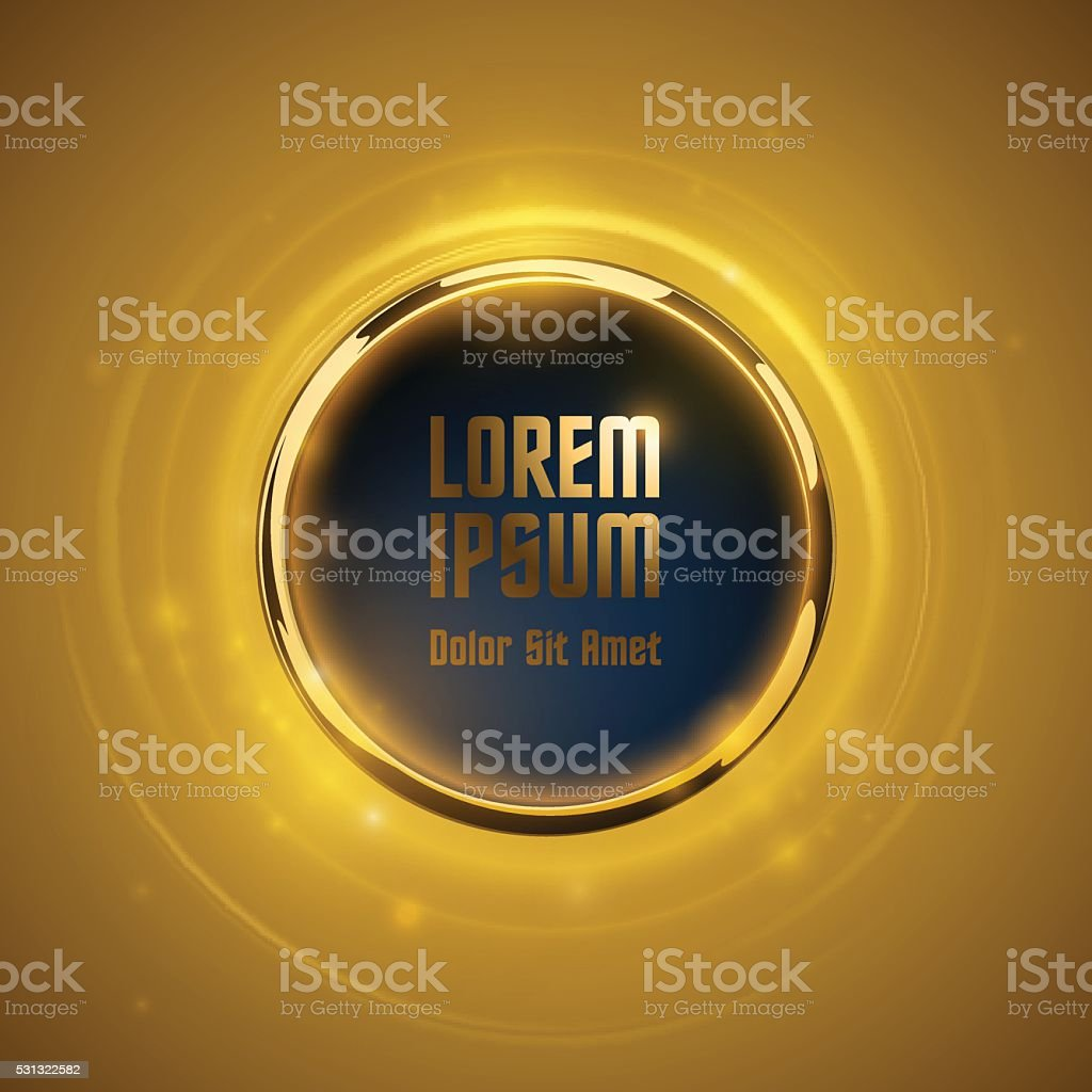 Gold metal ring with place for text vector art illustration