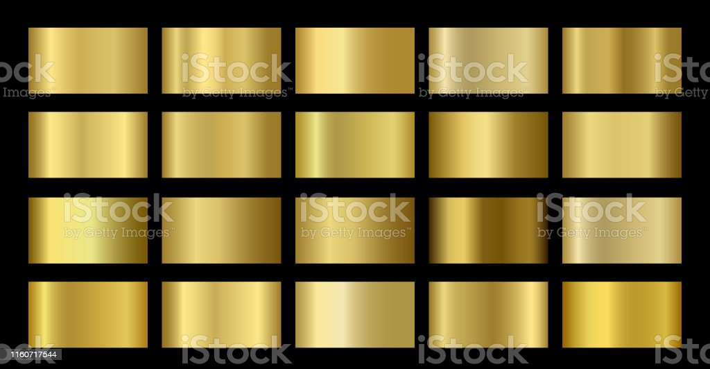 Gold Metallic, bronze, silver, chrome, copper metal foil texture gradient template - Royalty-free Abstrato arte vetorial