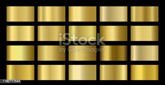 Gold Metallic, bronze, silver, chrome, copper metal foil texture gradient template. Vector golden swatch set. Metallic gold gradient illustration gradation for backgrounds, banner, rings, ribbons