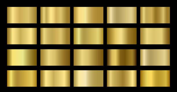 złoto metaliczny, brązowy, srebrny, chrom, miedziana folia metalowa tekstura szablon gradientu - metal stock illustrations