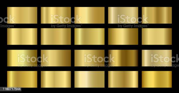 Gold Metallic Bronze Silver Chrome Copper Metal Foil Texture Gradient Template - Arte vetorial de stock e mais imagens de Abstrato