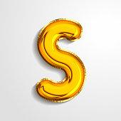Gold metallic helium alphabet balloon foil letter S realistic 3d render air balloon. Collection of golden balloon alphabet Vector illustration.